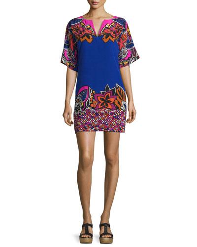 Short-Sleeve Floral Sift Dress, Multicolor