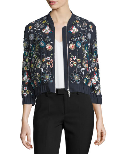 Butterfly Garden Bomber Jacket, Multi Colors