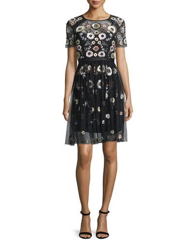 Woodland Embellished Lace Dress, Black