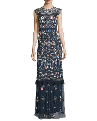 Butterfly Garden Embellished Maxi Dress, Bleach Indigo