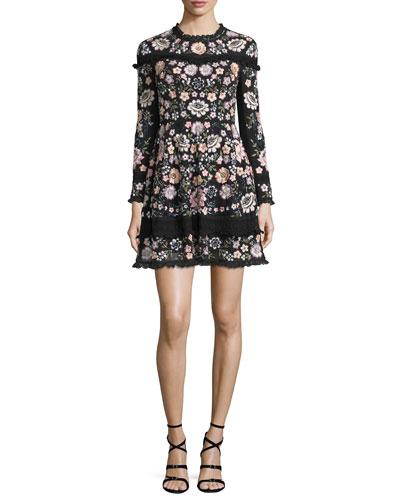 Long-Sleeve Floral Embellished Mini Dress, Black