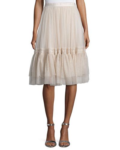 High-Waist Tulle Skirt W/Lace Trim, Rose Beige