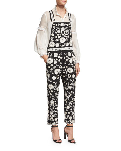 Floral Lace-Embroidered Dungarees, Black/Chalk