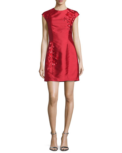Cap-Sleeve Embellished Cocktail Dress, Raspberry