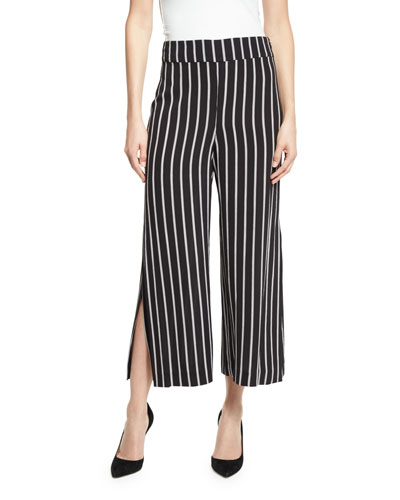 High-Waist Striped Culottes, Black/White