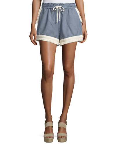Micro-Stripe Shorts w/Braid & Fringe Trim, Blue