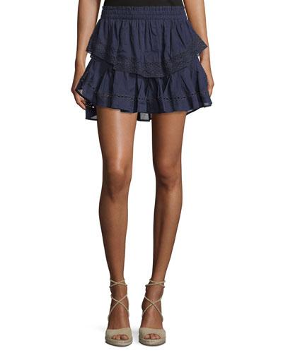 Embroidered Ruffle Mini Skirt, Indigo