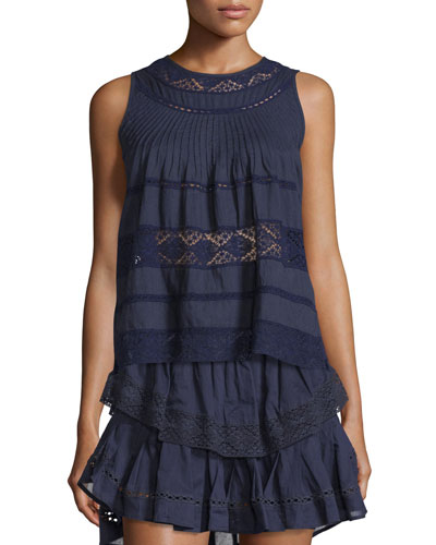 Bella Sleeveless Lace-Inset Top
