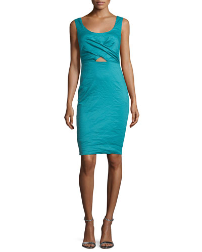 Talia Sleeveless Sheath Dress W/Cutout, New Lagoon