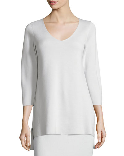 3/4-Sleeve V-Neck Interlock Tunic, Bone, Plus Size