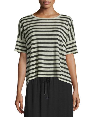 Short-Sleeve Striped Linen-Blend Top, Natural/Black, Petite