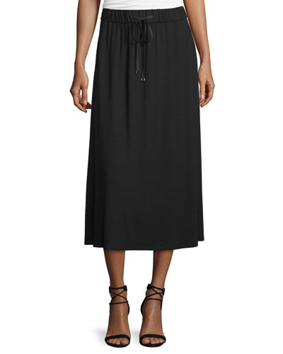 Drawstring A-line Jersey Skirt, Black, Plus Size