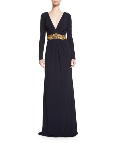 Long-Sleeve V-Neck Embellished-Waist Gown, Navy