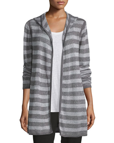 Hooded Two-Tone Striped Cardigan, Ash/Dark Pearl