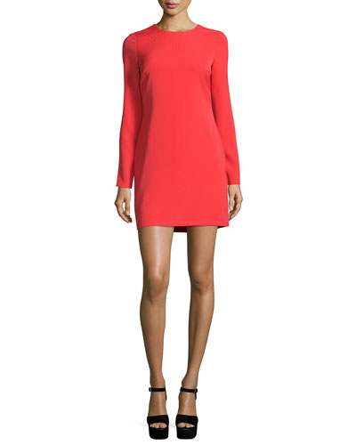 Long-Sleeve Mini Sheath Dress, Red