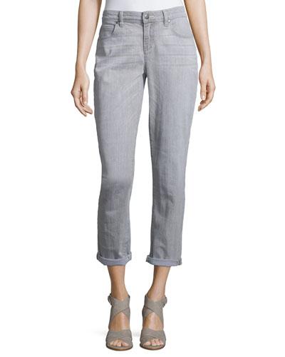 Slim-Leg Cropped Boyfriend Jeans, Vintage Gray