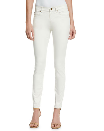 Sueded Organic-Stretch Sateen Jeans, Bone, Plus Size