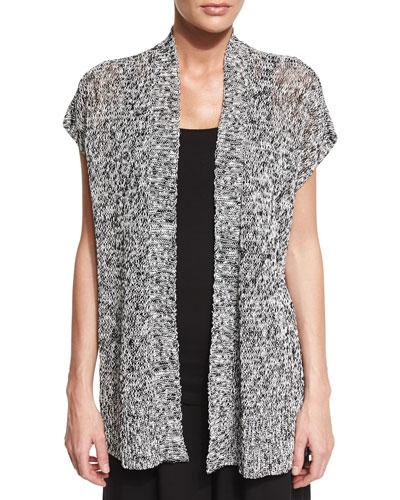 Short-Sleeve Melange Linen Grain Twist Cardigan, Black, Plus Size