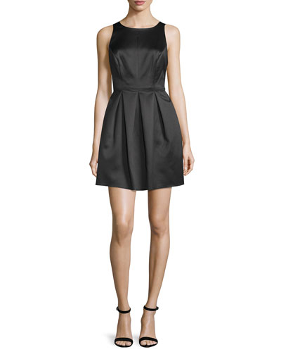 Sleeveless Pleated-Skirt Mini Dress, Black
