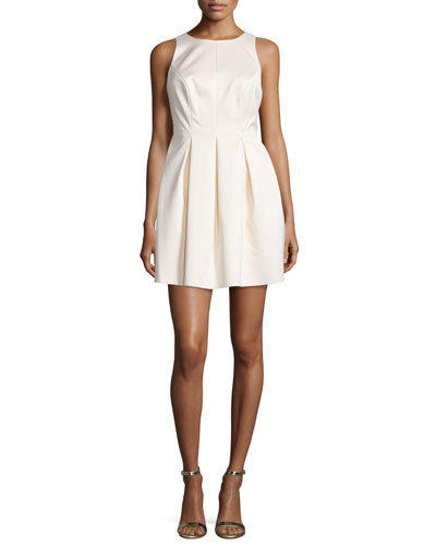 Sleeveless Pleated Mini Dress, Off White