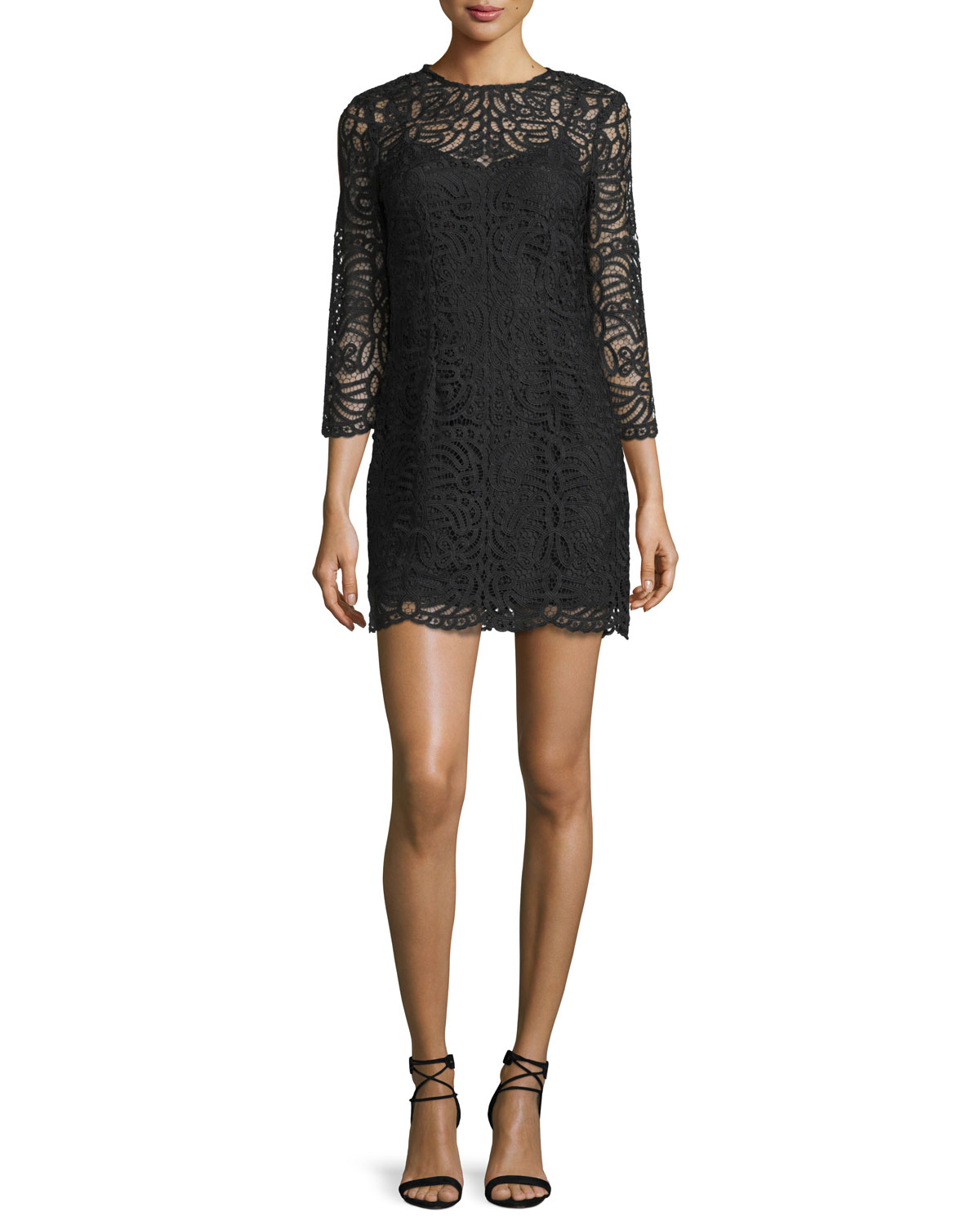 3/4-Sleeve Macrame Mini Dress, Black