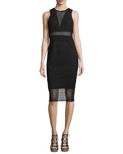 Sleeveless Geometric-Lace Dress, Black