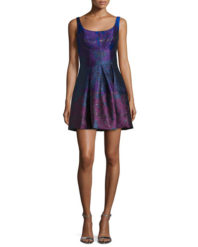 Peony Sleeveless Round-Neck Party Dress, Royal