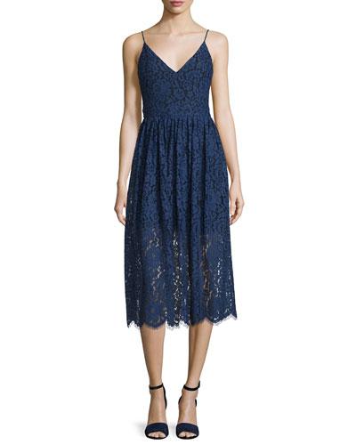 Sleeveless Tea-Length Lace Dress, Parisian Blue