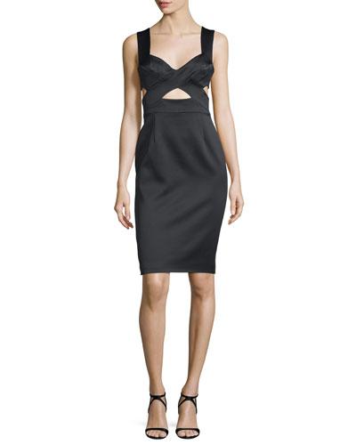 Sleeveless Sheath Dress W/Cutouts, Black