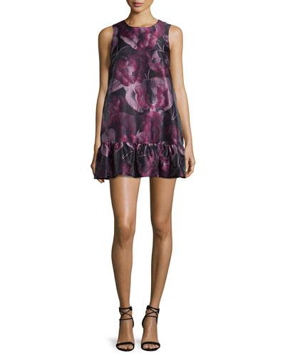 Painted Butterfly Sleeveless Mini Dress, Black/Raspberry