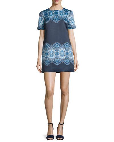 Short-Sleeve Printed Mini Dress, Cobalt/Navy