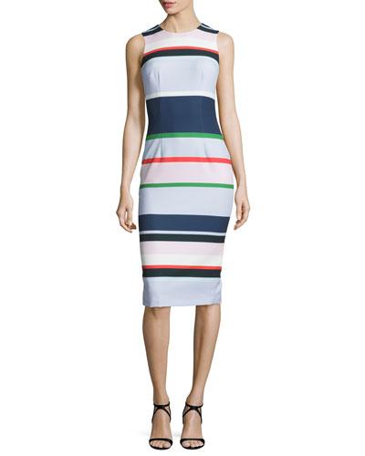 Sleeveless Striped Midi Dress, Navy/Multi