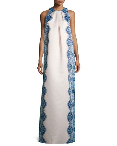 Sleeveless Printed Column Gown, Ivory