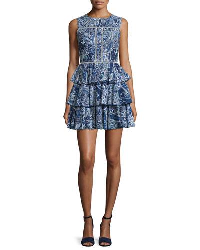 Sleeveless Tiered-Skirt Dress, Navy