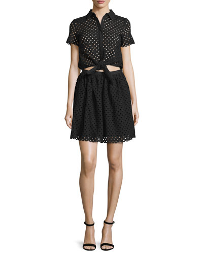 Short-Sleeve Eyelet Popover Dress, Black
