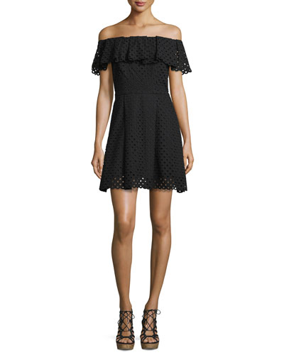 Off-The-Shoulder Eyelet Mini Dress, Black