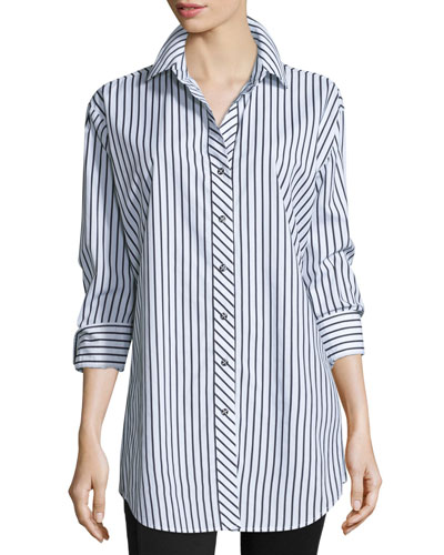 Long-Sleeve Skinny-Striped Big Shirt, White/Black