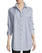 Long-Sleeve Skinny-Striped Big Shirt, White/Black, Plus Size