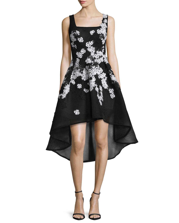 Sleeveless High-Low Lace-Trim Cocktail Dress, Black/White