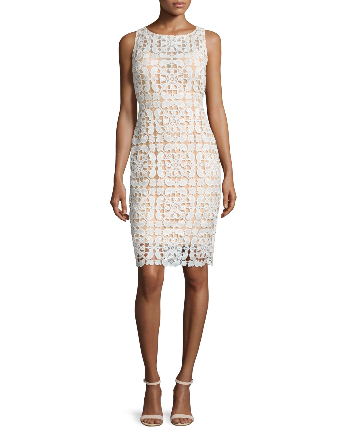 Sleeveless Macrame Sheath Dress, Ivory/Nude