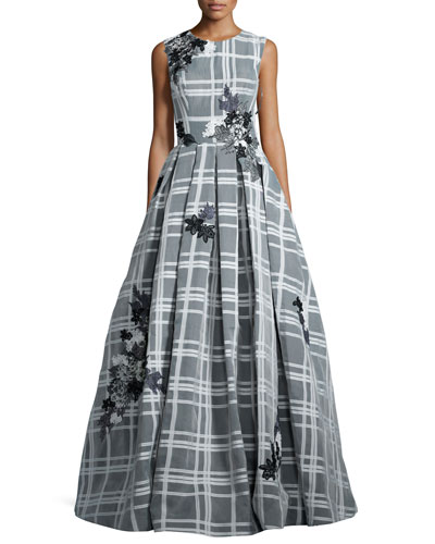 Sleeveless Embroidered Check Ball Gown, White/Black