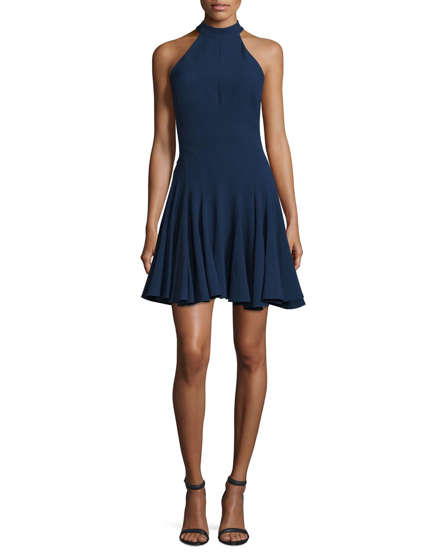 Jovani HALTER-NECK FIT-&-FLARE COCKTAIL DRESS, NAVY