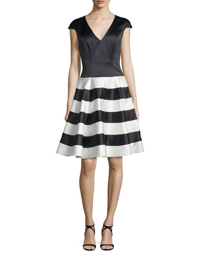 Cap-Sleeve Fit-&-Flare Cocktail Dress, Black/Ivory
