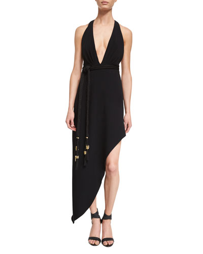 Nadja Halter-Neck Asymmetric Gown, Black