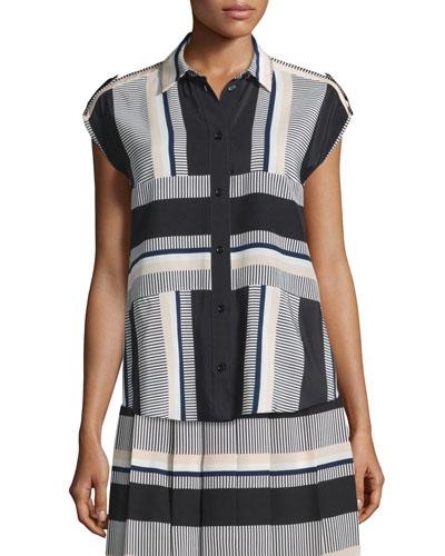 striped cap-sleeve silk blouse, black