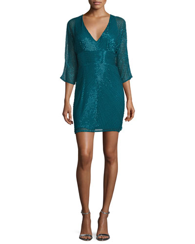 3/4-Sleeve Beaded Cocktail Dress, Teal