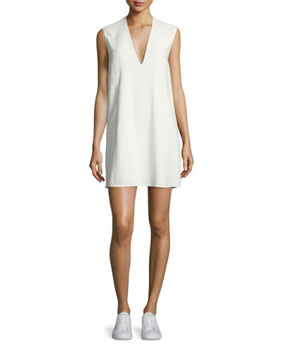 Sleeveless Voile V-Neck Shift Dress, Ivory