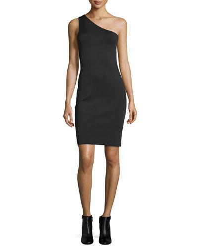 One-Shoulder Neoprene Sheath Dress, Black