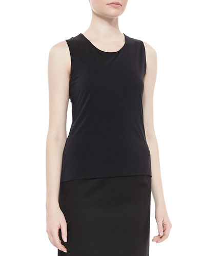 Sleeveless Jersey Tank, Black