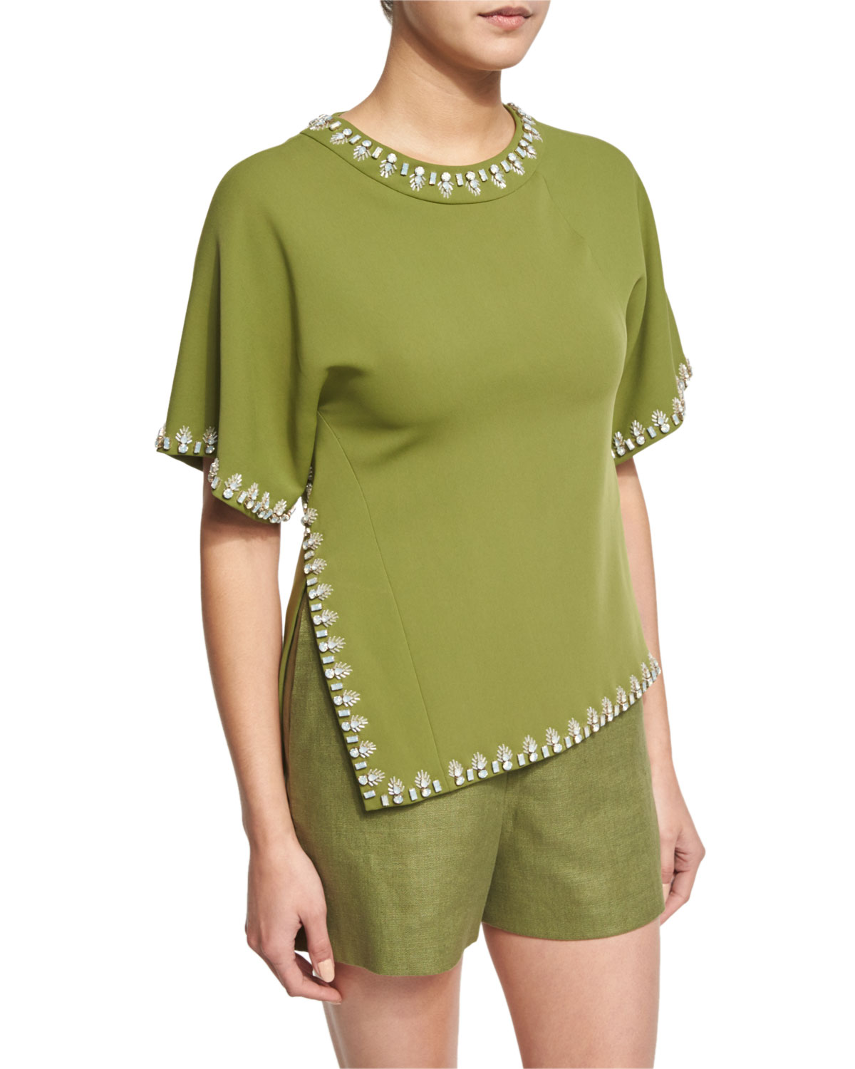 Embellished Short-Sleeve Cady Top, Hills